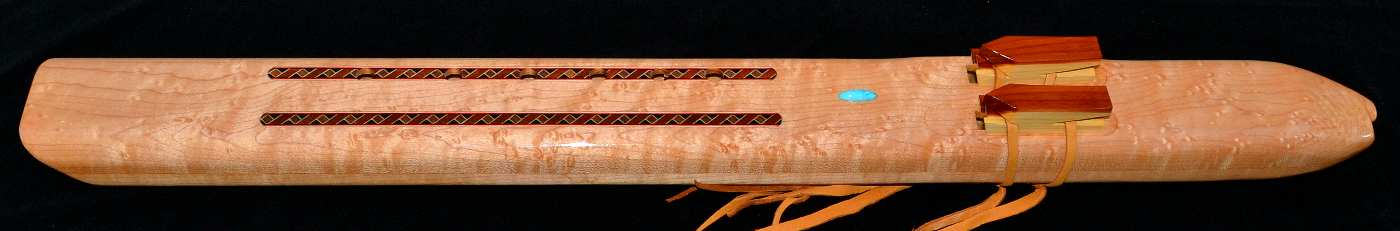 Birds Eye Maple Native American Style Double Inlaid Drone in E-minor